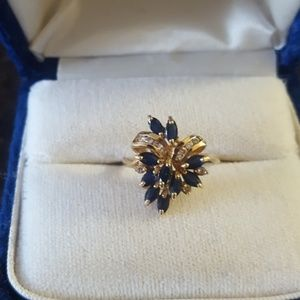 Jewelry - 14k gold sapphire and diamond size 7 ring